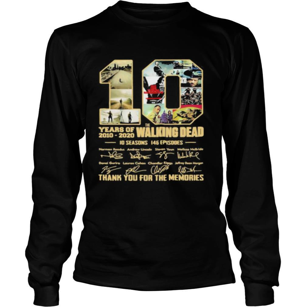 10 years of 2010 2020 the walking dead 10 seasons 146 episodes thank for the memories signatures shirt