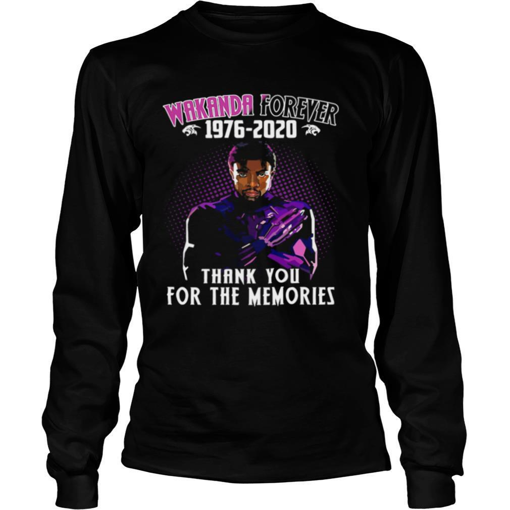 Black panther rip chadwick wakanda forever 1976 2020 thank for the memories shirt