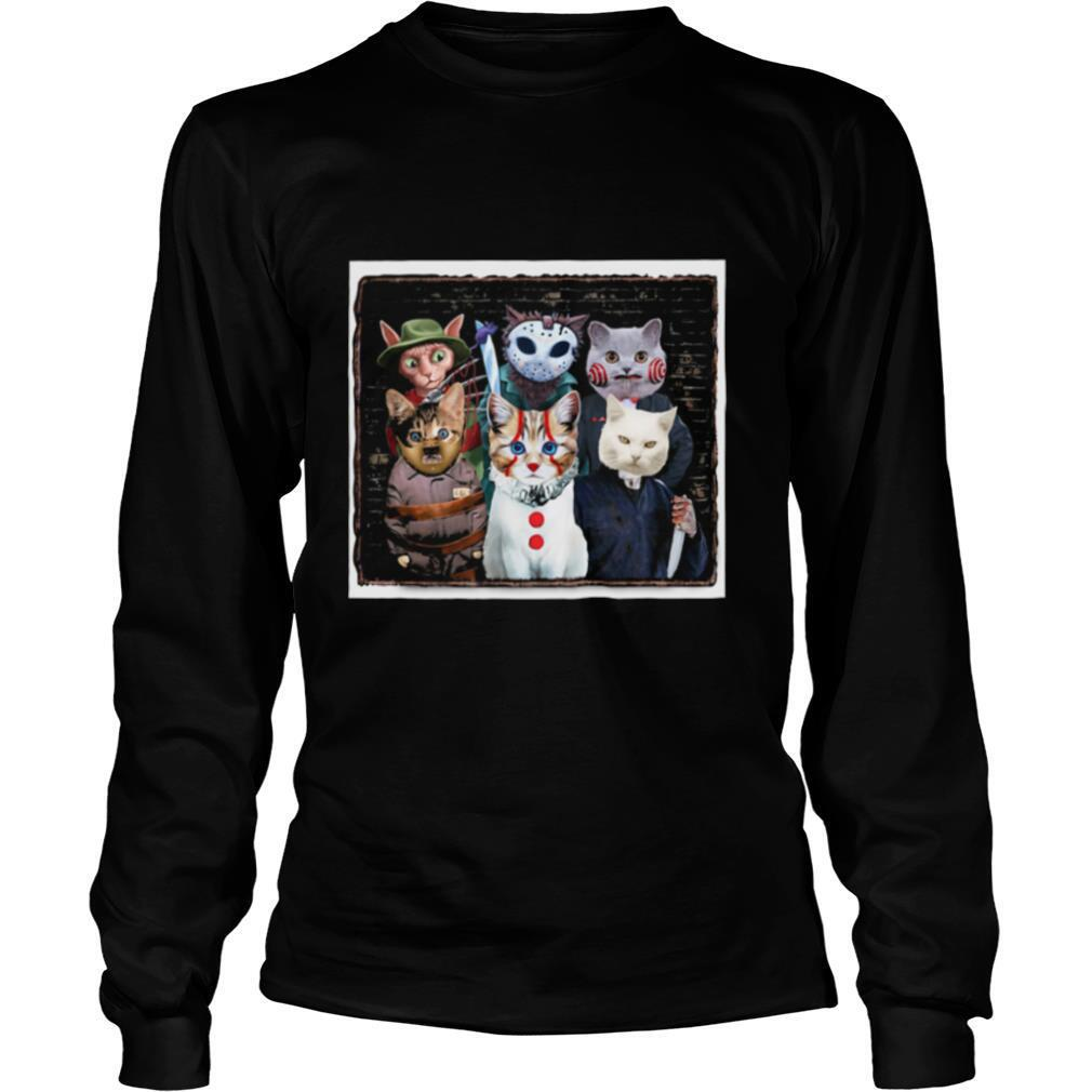 Halloween cats horror characters friends shirt