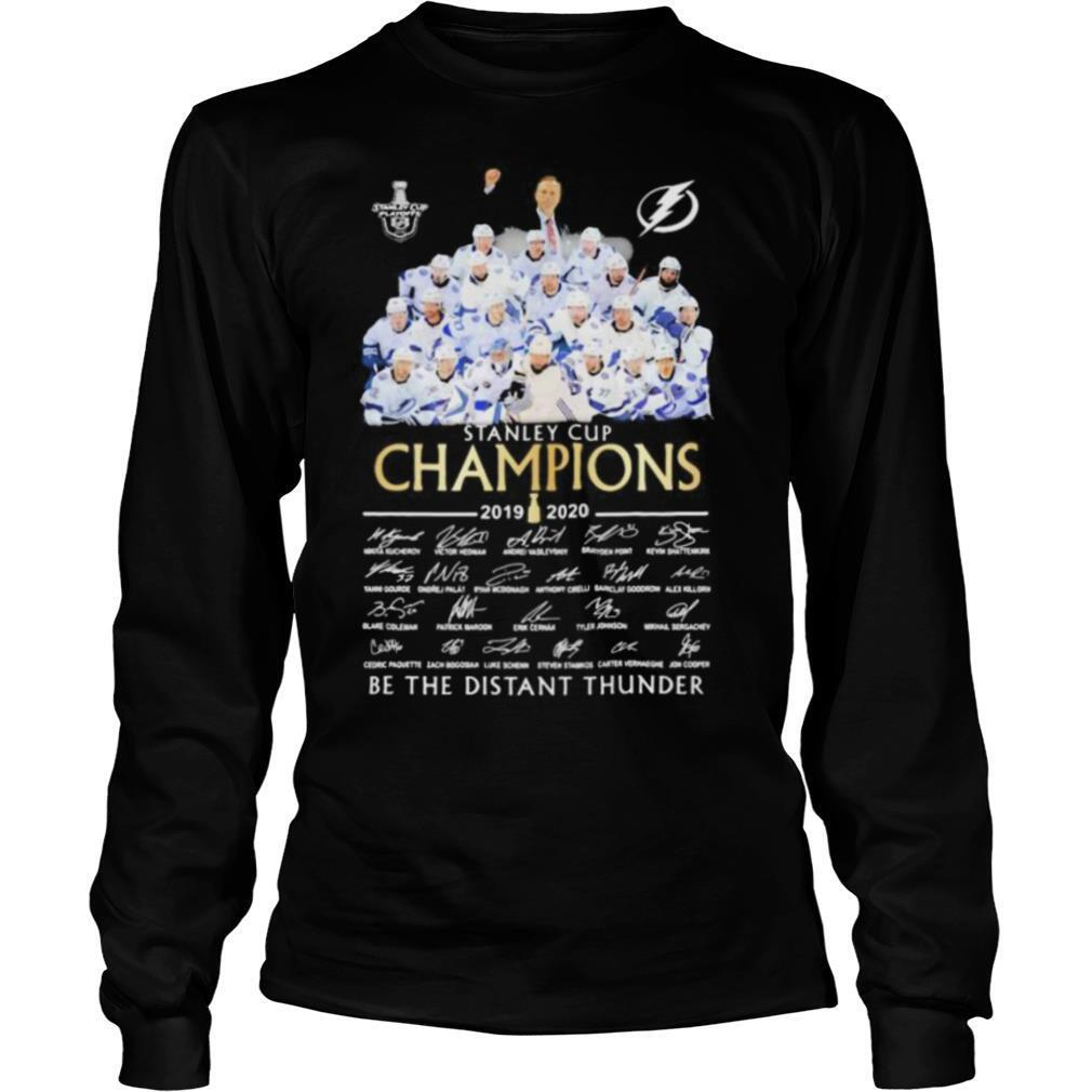 Tampa bay lightning stanley cup champions 2020 be the thunder signatures shirt