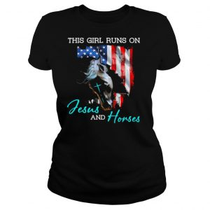 This girl runs on Jesus and Horses American flag shirt