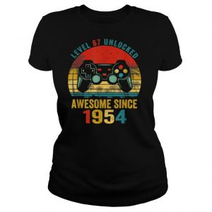 ~tmp90_Level 67 Unlocked Awesome Since 1954 Video Game 67th Bday Shirt