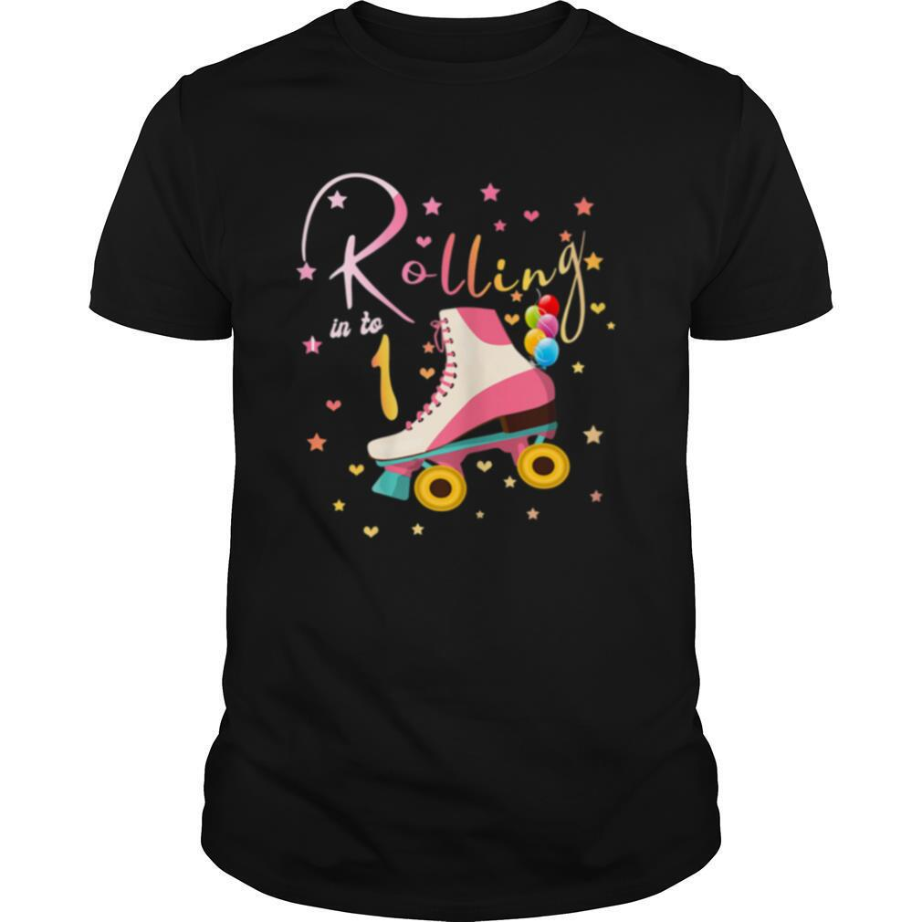 1 Years Old Birthday Girls Roller Skates 1st 80's Outfit Shirt